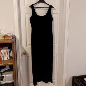 Floor length black velvet gown